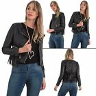 New Womens Biker Fringe Lower Zip Pocket Long Sleeve Jacket With Hooded style