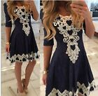 Women's Summer Casual Lace Half Sleeve Party Evening Cocktail Short Mini Dress