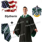 US STOCK Harry Potter Cape Adult Slytherin Robe Cloak Tie Cosplay Costume