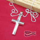Rounded Thick Cross Pendant in SOLID 925 Sterling Silver - NEW - USA Seller!