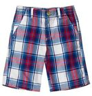NWT Crazy 8 Boy's VARSITY PREP Red White Blue Plaid Woven Shorts
