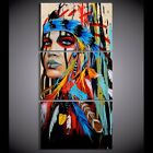 HD printed 3 piece canvas art American Indian canvas feathered Painting wall
