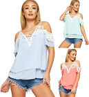 Womens Chiffon Lined Lace Trim Strappy Top Ladies V-Neck Cold Shoulder Short