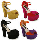 26A WOMENS FAUX SUEDE BLOCK CURVE HEEL PEEPTOE LADIES ANKLE STRAP SHOES SIZE 3-8