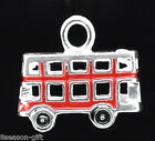 Wholesale Lots Silver Plated Red Enamel Bus Charm Pendants 17x15mm