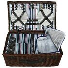 ZQ1-3555 Large Dark Wicker Picnic Basket with Cooler for 4 People