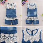 2PCS Fashion Baby Girls Toddler Summer Clothing Jeans Vest Top +Shorts with Lace