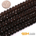 Natural Brown Smoky Quartz Faceted Rondelle Spacer Beads For Jewelry Making 15""