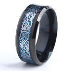 Mens silver blue black wedding Celtic dragon  ring band MANY SIZES K - Z4  MN27