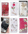 Cute Flip Leather Bling Rhinestone Diamond Crystal Wallet Card Case Cover For LG