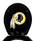 NFL FOOTBALL LOGO ON BLACK FINISH MOLDED WOOD ROUND TOILET SEAT COVER LID