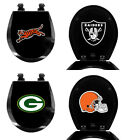 NFL Football Logo Decal on Black Finish Molded Wood Round Toilet Seat Lid Cover $89.88 USD on eBay