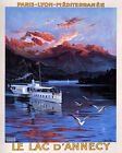 POSTER LE LAC D'ANNECY LAKE ANNECY BOAT TOUR FRANCE TRAVEL VINTAGE REPRO FREE SH