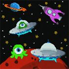 Aliens in Outer Space Needlepoint Kit or Canvas (Moon /Kids)
