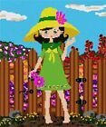 Girl In Garden Needlepoint Kit or Canvas (Kids /Floral /Flower /Nature)