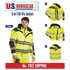 High Visibility Bomber Rain Jacket 3 Jackets in 1 Reflective Work Portwest UC466