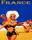 POSTER FRANCE YOUTH BEACH FUN SUN VACATION SUMMER TRAVEL VINTAGE REPRO FREE S/H