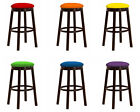 "24"" & 28"" BAR STOOL VINYL SEAT CUSHIONS ESPRESSO WOOD METAL GAME ROOM SHE SHED"