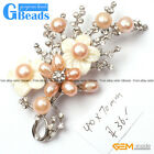 40x70mm White Gold Plated Flower Pearl Brooch Pin Fashion Jewelry Free Shipping