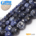 Natural Sodalite Jasper Faceted Round Beads For Jewelry Making Free Shipping 15""