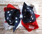 LARGE Satin Double Ruffle Patriotic Triple Loop JULY 4TH Hair Bow Red White Blue