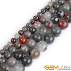 Natural Africa Bloodstone Gemstone Round Beads For Jewelry Making Strand 15""