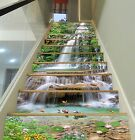 3D Waterfall pond Stair Risers Decoration Photo Mural Vinyl Decal Wallpaper AU