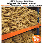 100% Natural Jute Hessian Rope Twine Decorative Cord Garden Decking Hand Rail