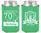Personalized 70th Birthday Party Gifts Koozie (20277) Gol...