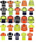 Hi Viz Vis Polo T-Shirt Top High Visibility Safety Security Work wear Shirts Tee $9.46 USD