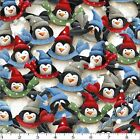 """QUILTING TREASURES """"JUST CHILLIN' """" PENQUINS SNOWMEN CHRISTMAS FABRIC (SELECT)"""