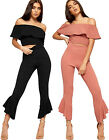 Womens Cropped Co-ord Twin Set Suit Ladies Off Shoulder Top Flared Pants New