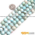 "Natural Grade AAA Blue Larimar Gemstone Round Beads For Jewelry Making 15""String"