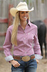 Women's Cinch Pink Striped Long Sleeve Button Down Shirt - MSW9164050