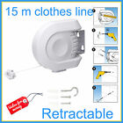 15M RETRACTABLE CLOTHESLINE AIRER MOUNTABLE CHOTHES LINE HANG-DRYING RACK WALL M