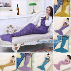 Kids/Adult Shark Mermaid Tail Cosy Fleece Knit Blanket Snuggle Sofa Sleeping Bag