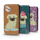 DOGS PUGS MOPS CARLIN FUNNY PU LEATHER WALLET FLIP CASE COVER FOR IPHONE