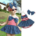 Toddler Kids Baby Girl Romper Jumpsuit Swimsuit Sunsuit+Headband 2PCS Outfit UK