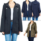 New Womens Plain Hooded Light weight polyester Raincoat Ladies Jacket Plus Size