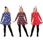 Ladies Novelty Christmas Swing Dress Reindeer/ Santa/ Snowman Xmas Pattern