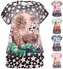 Womens Plus Size Top Glitter Cat Feline Animal Printed Cap Sleeve Ladies T-Shirt