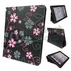 FLOWER BLACK PINK AND GREY DESIGN PU LEATHER CASE COVER FOR  APPLE IPAD 2, 3 & 4