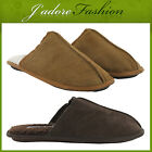 NEW MENS FLAT COMFY REAL SUEDE GENTS MULES WINTER SLIPPERS SIZES UK 7-12