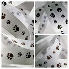 1M x 15mm SILKY GROSGRAIN CAT & DOG PAW PRINTS RIBBON, BLACK OR BROWN ON WHITE