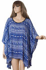 Printed Blue summer Tunic Poncho top oversized blouse XL-2XL-3XL ibiza boho v46