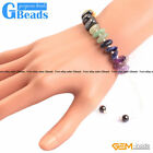 "Freeform Assorted Stones Beaded Rondelle Disc Spacer Beads Bracelet 7""Adjustable"