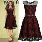 Womens Vintags Style Cocktail Evening Party Polka Dot Lined Mesh Lace Slim Dress