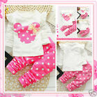 Toddler Girl Pink Micky Christmas Party Outfit Set Girls Dresses SIZE 1-2-3-4-5Y