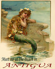 POSTER LITTLE MERMAID MEET AT THE BEACH IN ANTIGUA TRAVEL VINTAGE REPRO FREE S/H