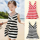 Striped Girls Dress Halter Cotton Kids Backless Beach Dress Fashion Tops Vest